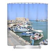 Crete Island Harbour  Shower Curtain
