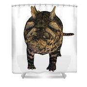 Crichtonsaurus On White Shower Curtain