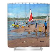 Cricket And Red And White Sail Shower Curtain