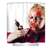 Criminal Zombie Pointing Revolver Shower Curtain