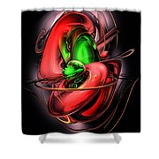 Crimson Affection Abstract Shower Curtain