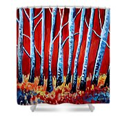Crimson Birch Trees Shower Curtain