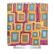 Crimson Gold And Squares  Shower Curtain