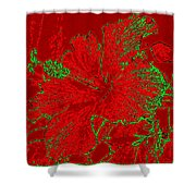 Crimson Hibiscus Shower Curtain