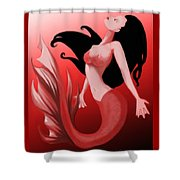 Crimson Mermaid Shower Curtain