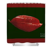 Crimson On Green Shower Curtain