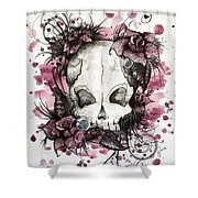 Crimson Skull Shower Curtain