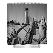 Crisp Point Lighthouse With Driftwood Shower Curtain