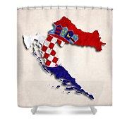 Croatia Map Art With Flag Design Shower Curtain