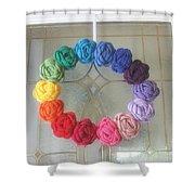 Crochet Rainbow Wreath Shower Curtain