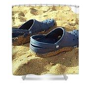 Crocs Shoes On Sandy Point Beach Shower Curtain