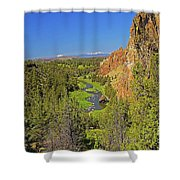Crooked River And Mt Hood Oregon Shower Curtain