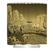 Crooked River At Smith Rock State Park Sepia Shower Curtain