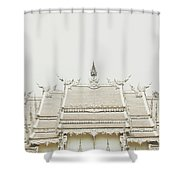Crop Of A Exquisite And Magnificent Roof Of White Temple Aka Wat Rong Khun In Thailand Shower Curtain