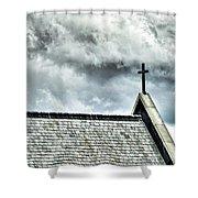 Cross Against An Angry Sky Shower Curtain