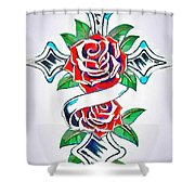 Cross And Roses Tattoo Shower Curtain