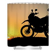 Cross-country Motorbike And Stony, Traveling In Tough Roads Shower Curtain