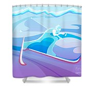 Cross County Skier Abstract Shower Curtain