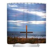Cross Light Square Shower Curtain