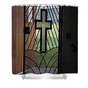 Cross On Church Door Open To Prison Yard Fence With Razor Wire Shower Curtain