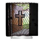 Cross On Church Door Open To Prison Yard Shower Curtain