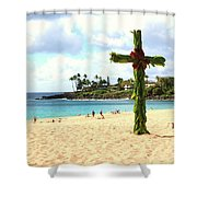 Cross In The Sand Shower Curtain