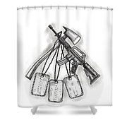 Crossed Fire Ax And M4 Rifle Dog Tags Tattoo Shower Curtain