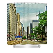 Crossing Chicago's South Michigan Avenue Shower Curtain
