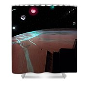 Crossing Over Planet Sky Shower Curtain