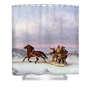 Crossing The Saint Lawrence From Levis To Quebec On A Sleigh Shower Curtain by Cornelius Krieghoff