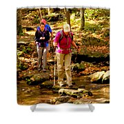 People Series - Crossing The Stream Shower Curtain