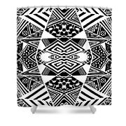 Crossroads To Ornamental - Abstract Black And White Graphic Drawing Shower Curtain