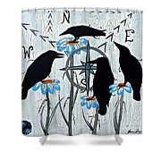Crow Flowers Shower Curtain