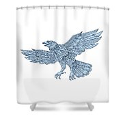 Crow Flying Mandala Shower Curtain