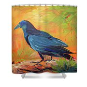 Crow In The Grass 7 Shower Curtain