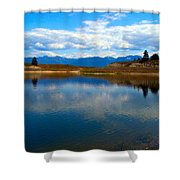 Crow Lake Montana Shower Curtain