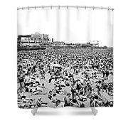 Crowds At Coney Island Beach Shower Curtain