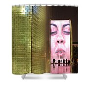 Crown Fountain At Millennium Park Shower Curtain