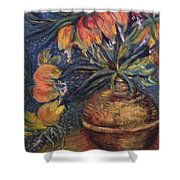 Crown Imperial Fritillaries In A Copper Vase Copy Shower Curtain