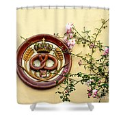Crowned Pretzel Sign With Roses Shower Curtain