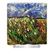 Crows Flying Over Tulips Shower Curtain