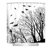 Crows Roost 2 - Black And White Shower Curtain