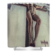 Crucified In The Street Shower Curtain