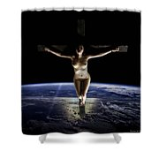 Crucified Tellus Shower Curtain