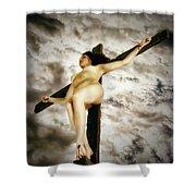 Crucified Woman In Upward View Shower Curtain