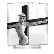 Crucifix Portrait I Shower Curtain