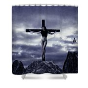 Crucifixion On The Mountain Shower Curtain