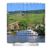 Cruise Boat, Rudesheim, Germany Shower Curtain
