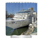 Cruise Ship At Canada Place Shower Curtain