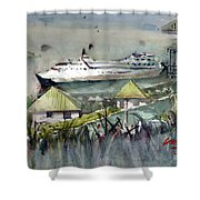 Sitting In The Dock Of The Bay, Kingstown, St Vincent  Shower Curtain